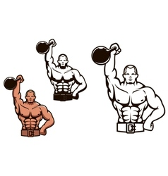 Bodybuilder man with dumbbell vector image