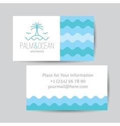 Business card with palm seagulls island and vector