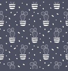 cactus plant in a pot blue seamless pattern vector image vector image