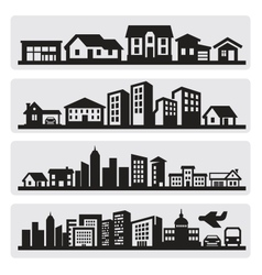 cities silhouette icon vector image vector image