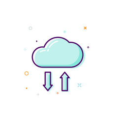 concept cloud icon thin line flat design data vector image vector image