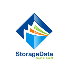 data storage file folder logo vector image