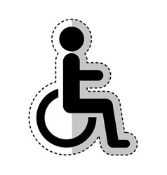 disable person in wheelchair silhouette vector image vector image