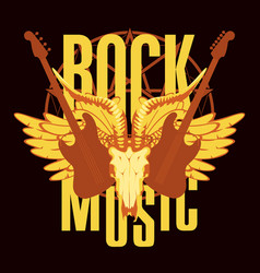 emblem with electric guitar wings and goat skull vector image vector image