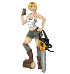 Girl with saw vector