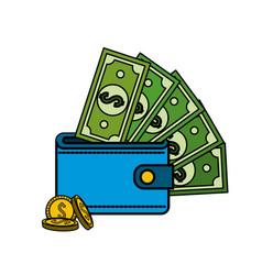 Green bill dolar inside wallet with coins vector