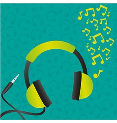 headphones green background pattern of headphones vector image vector image