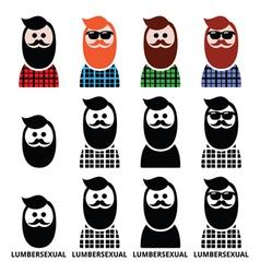 Lumbersexual man lumberjack - fashion trend icons vector