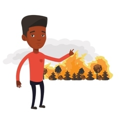 Man standing on background of wildfire vector