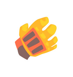 orange goalkeeper glove cartoon vector image vector image