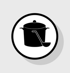 Pan with steam sign flat black icon in vector