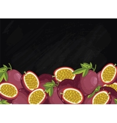 Passion fruit composition on chalkboard vector