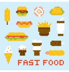Pixel art fast food set vector