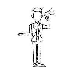 Politician man hold megaphone loudspeaker stand vector