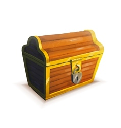 Realistic icon of treasure chest isolated vector