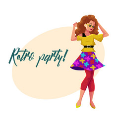 Retro disco party invitation poster with woman in vector