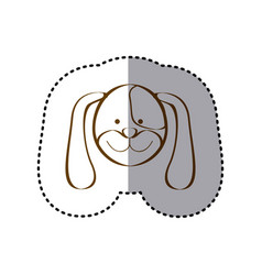 sticker with brown line contour of face of dog vector image vector image