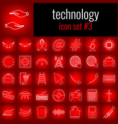 Technology icon set 3 white line icon on red vector