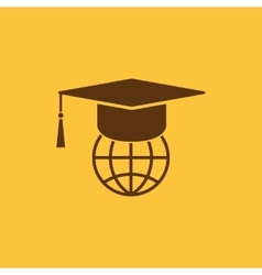 The graduation cap and globe icon vector image vector image