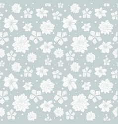 Tropical gray white flowers seamless repeat vector