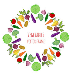 Vegetable hand drawn set isolated vegetables vector