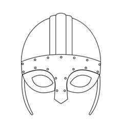 Viking helmet icon in outline style isolated on vector