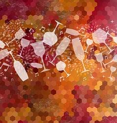 Wine bar glasses vintage seamless pattern vector image
