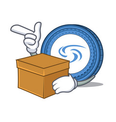 With box syscoin character cartoon style vector