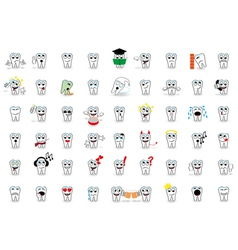 53 set tooth smiles vector image