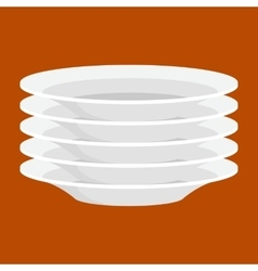 Empty white ceramic plate in stack isolated clean vector
