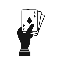 Hand holding playing cards icon simple style vector image