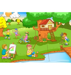 Children playing under tree house vector