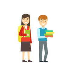boy and girl smiling with backpacks and books vector image