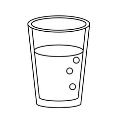 Glass cup juice nature thin line vector