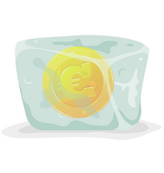 Frozen euro coin vector