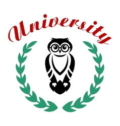Black owl in wreath as university symbol vector