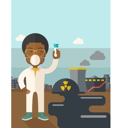 African scientist with mask and test tube vector