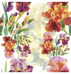Seamless pattern with watercolor irises vector