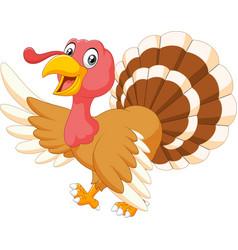 Cartoon turkey waving isolated on white background vector