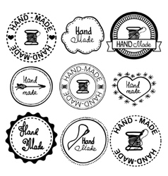 Hand-drawn retro hand-made badge vector