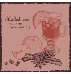 Ink hand drawn mulled wine set vector