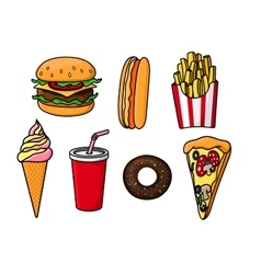 Fast food snacks drink and desserts vector