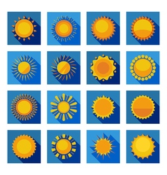Sun flat icons in isolated blue squares vector