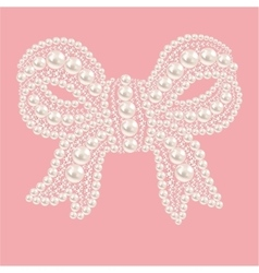 Cute bow with pearls and diamonds vector