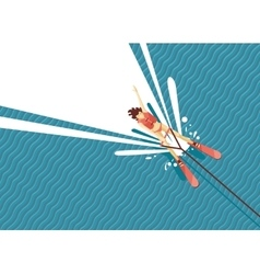 Girl water skiing top view of woman on the sea vector