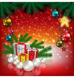 Abstract christmas red greeting with gifts and vector