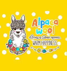 Alpaca wool design template vector