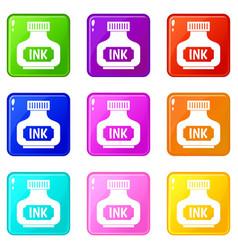 Black ink bottle set 9 vector