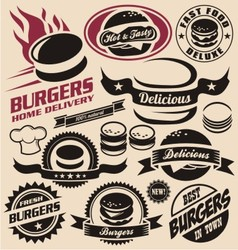 Burger icons labels signs symbols and designs vector image vector image