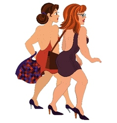 Cartoon two girls walking with bags back view vector image vector image